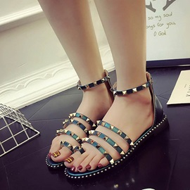 PU Rivets Zipper Open Toe Women's Flat Sandals
