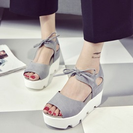 Faux Suede Lace-Up Hollow Chunky Heel Sandals
