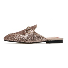 Glitter Heart Closed Toe Slip-On Shoes