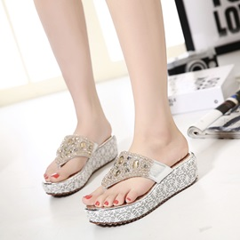 PU Rhinestone Slip-On Thong Women's Chic Sandals