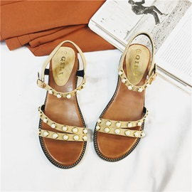 PU Buckle Open Toe Ankle Strap Women's Sandals