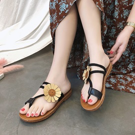 PU Floral Toe Ring Slip-On Sandals