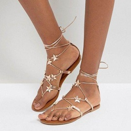 Casual Thong Lace-Up Plain Flat Sandals