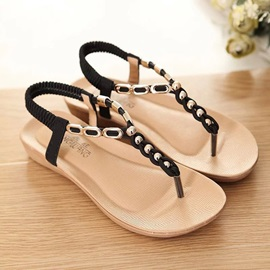 PU Elastic Band Thong Strappy Women's Sandals
