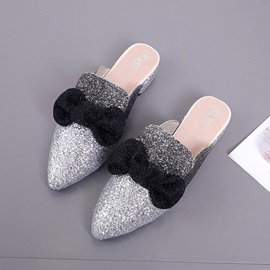 Sequin Pointed Toe Block Heel Women's Mules Shoes