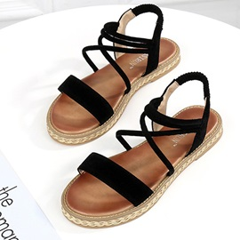 Plain Elastic Band Woven Women's Flat Sandals