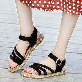 Plain Buckle Women's Flat Sandals