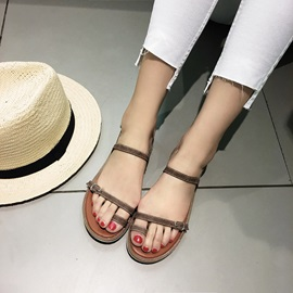 PU Toe Ring Block Heel Women's Flat Sandals