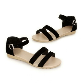 Color Block Buckle Women's Flat Sandals