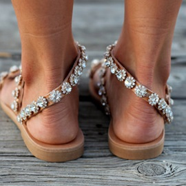 Rhinestone Toe Ring Block Heel Slip-On Women's Flat Sandals