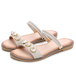 Beads Ankle Strap Women's Flat Sandals