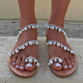 Beads Slip-On Thong Women's Beach Sandals