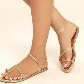 PU Toe Ring Slip-On Block Heel Women's Flat Sandals