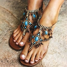PU Thong Beads Women's Flat Sandals