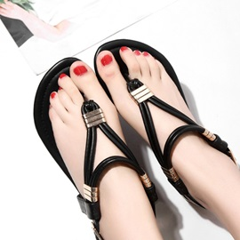 Thong Block Heel Buckle Women's Flat Casual Sandals
