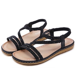 Round Toe Slip-On Ankle Strap Women's Flat Sandals