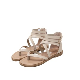 Zipper Thong Heel Covering Thread Women's Flat Sandals