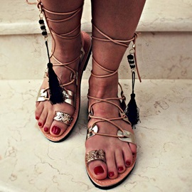 Lace-Up Strappy Toe Ring Vintage Women's Sandals