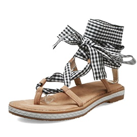 Block Heel Lace-Up Strappy Sweet Women's Sandals