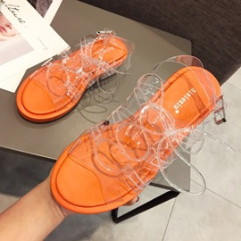 Lace-Up Chunky Heel Open Toe Neon Women's Sandals