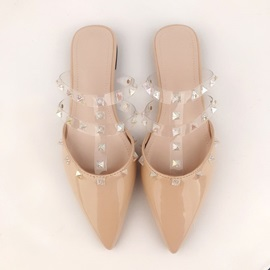 Rivet Closed Toe Block Heel Summer Slippers