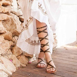 Open Toe Ankle Strap Buckle Roman Sandals