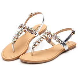 Thong Block Heel Buckle Rhinestones Women's Sandals