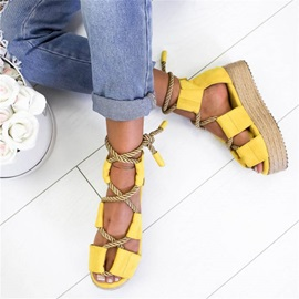 Open Toe Heel Covering Lace-Up Platform Sandals