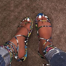 Ankle Strap Lace-Up Flat With Cross Strap Sandals