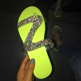 Slip-On Rhinestone Thong Rubber Slippers