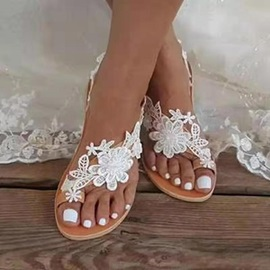 Appliques Thong Slip-On Rubber Slippers