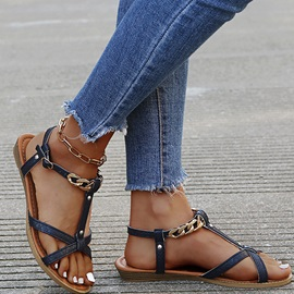 Flat With Buckle Open Toe Western Sandals