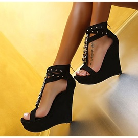 Charming Studded Ankle Strap Wedge Heels