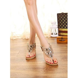 PU Rhinestone Thong Crystal Wedge Sandals