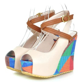 PU Color Block Peep-Toe Wedge Sandals