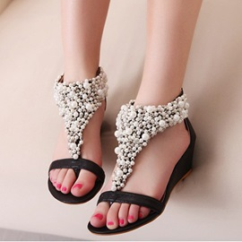 T Shaped with Beads Wedge Sandals
