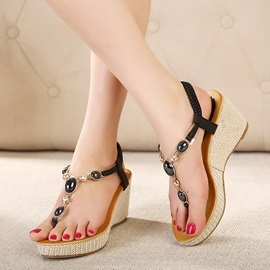 Beads Inlaid Elastic Slingback Wedge Sandals