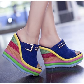 Rainbow Platform Peep Toe Sandals