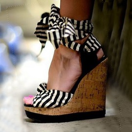 Striped Bowknot Cork Wedge Sandals