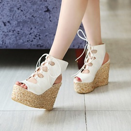 PU Crochet Wedge Heel Sandals