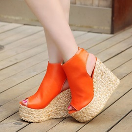 Crochet Peep-Toe Wedge Heel Sandals