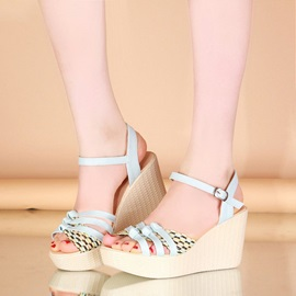 Strappy Woven Buckles Wedge Sandals