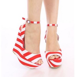 Striped Peep-Toe Ankle Strap Wedge Sandals
