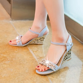 Rhinestone Open-Toe Wedge Sandals