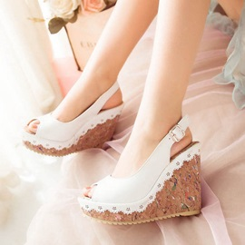PU Peep-Toe Slingback Wedge Sandals