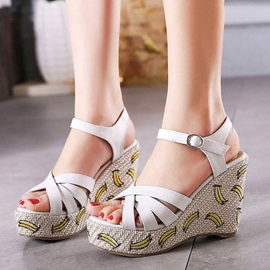 Embroidered PU Open-Toe Wedge Sandals