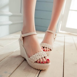 PU Crochet Open-Toe Wedge Sandals