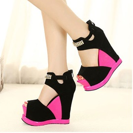 Color Block Back-Zip Peep Toe Wedge Sandals