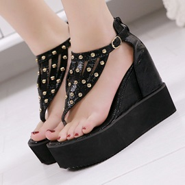 Black Studded Thong Wedge Sandals