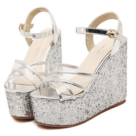 Strappy Sequins Buckles Wedge Sandals